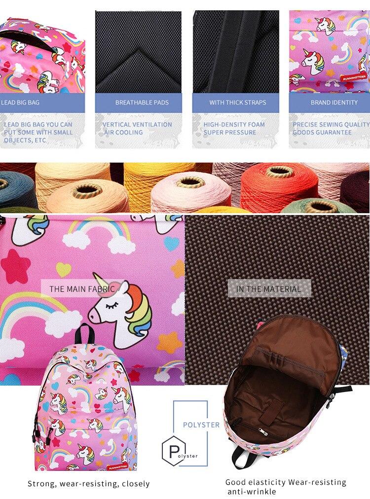 Unicorn 3D Printed Casual School Backpack Women Set 21