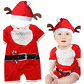 Retail infant Xmas clothing baby boys girls short sleeve Christmas rompers kid red Santa Claus romper with hat kids clothes Hot