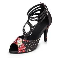 Women Ballroom Latin Dance Shoes Rhinestone Tango Waltz Dance Shoes for Salsa Social Party Heel 6/7.5/8.3/8.5/10cm 1754