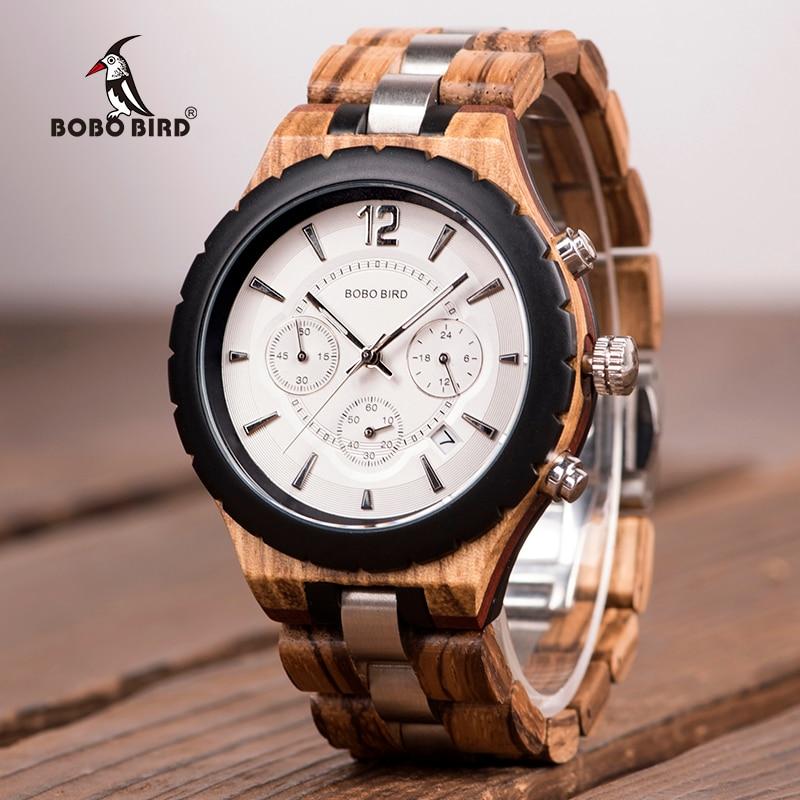 BOBO oiseau hommes montre de luxe élégant bois métal chronographe Auto Date montres reloj hombre 2018 Idae cadeau C-hR22 livraison directe