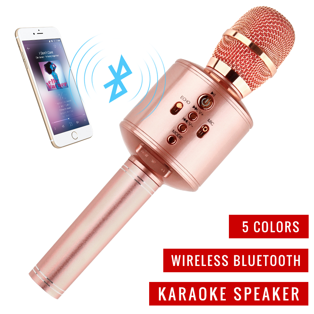 Handheld Magic Bluetooth KTVKaraoke Microphone Wireless Family Microphone With Speaker With Carring Case ForIphone Android