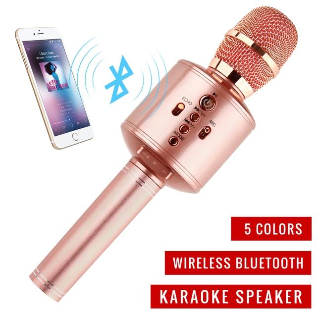 Micrófono de mano mágico Bluetooth KTVKaraoke micrófono inalámbrico de la familia con altavoz con Carring funda para iphone Android
