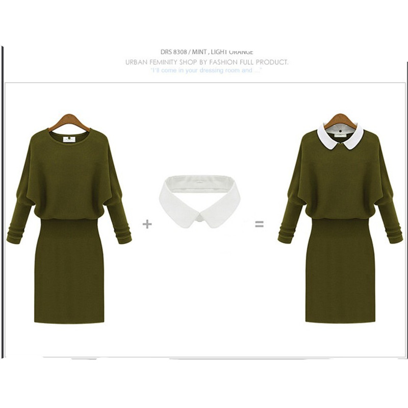 Long Sleeve Turn-down Collar Pullover Knitted Sweater Dress Women Dress Spring And Autumn Women Brand Style Knee-Length Dresses