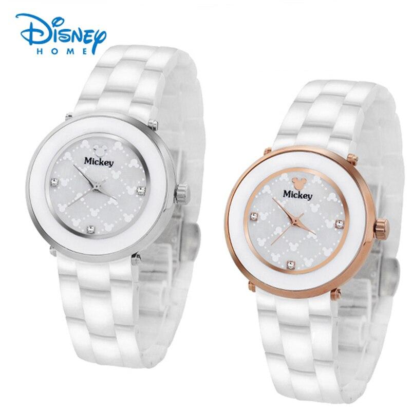 100% authentique Disney femmes montre de luxe argent Roes or en céramique montre-bracelet de mode décontracté Mickey souris montres Relogio