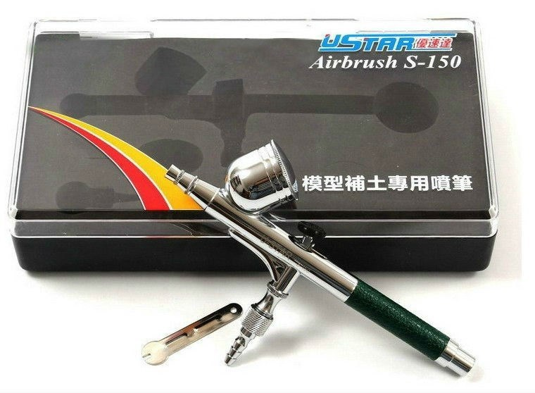 U-STAR S-150 S150 Multi-Purpose Precision Dual-Action Gravity Feed Airbrush,0.5mm Nozzle, 9cc, Leather Handle, Putty Airbrush