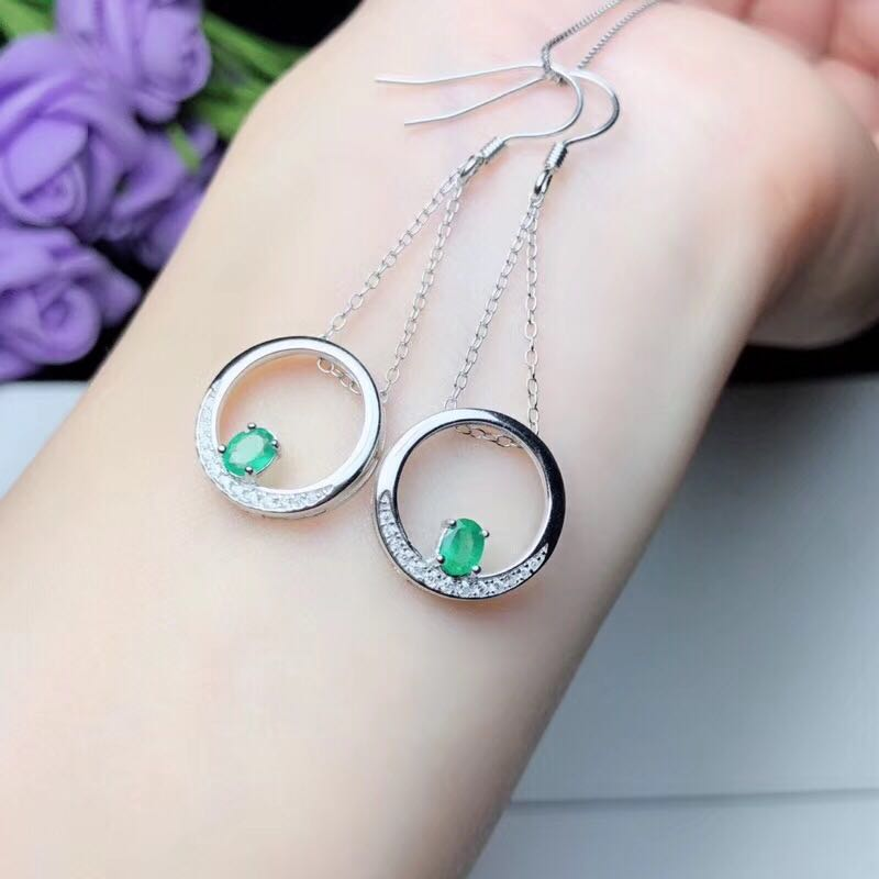 emerald for party 100% natural emerald earrings solid 925 sterling silver emerald wedding jewelry for woman