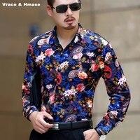 Chinois style magnifiquement imprimé boutique de mode à manches longues chemise Automne 2017 doux soyeux or velours qualité hommes chemise M-XXXL