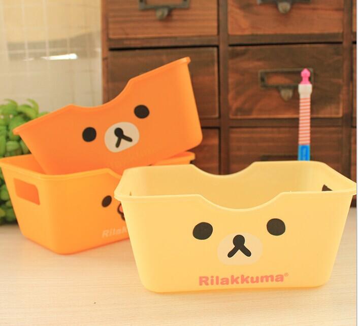 1PC Cute cartoon lovely relaxing bear rectangular desktop plastic storage box 15.5x11x7cm OK 0054