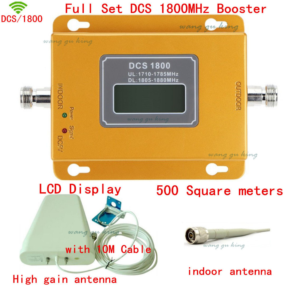 Full Set LCD Display LCD Display 4G DCS 1800Mhz Booster 10 Cable+Outdoor Indoor Antenna, DCS 1800 Mhz Repeater Signal Amplifie