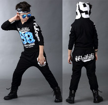 New children's clothing set streetwear Costumes number 98 printing Long sleeve kids sport suits Hip Hop dance pant & sweatshirt