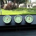 Car styling meter noctilucence originalidad decoración Adornos mejor regalo 4 CM enfriar reloj de cuarzo + higrómetro + termómetro