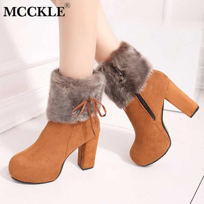 139698918 MCCKLE/женские ботильоны зимние Для женщин теплые зимние ботинки на высоком  каблуке обувь искусственного меха