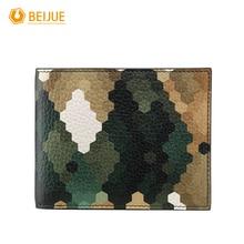 BEIJUE Vintage Minimalist Camouflage Green Short Male font b Wallet b font Fashion Brand Luxury Geniune