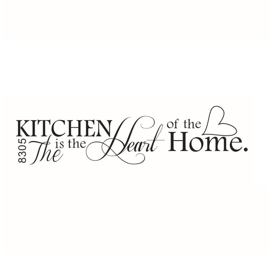 Hot Sale Novelty The Kitchen Is The Heart Of The Home DIY Removable Wall Quote Sticker for Kitchen Decor