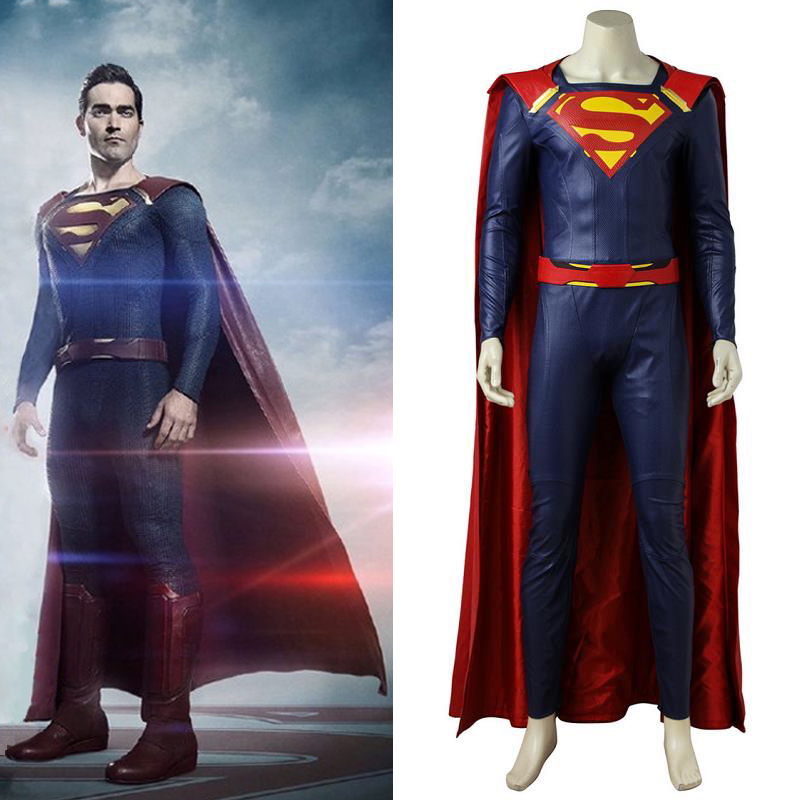 Supergirl Season 2 Cosplay Superman Clark Kent Costume with Cloak Halloween Party Outit Suit Carnival Full Set Custom Made