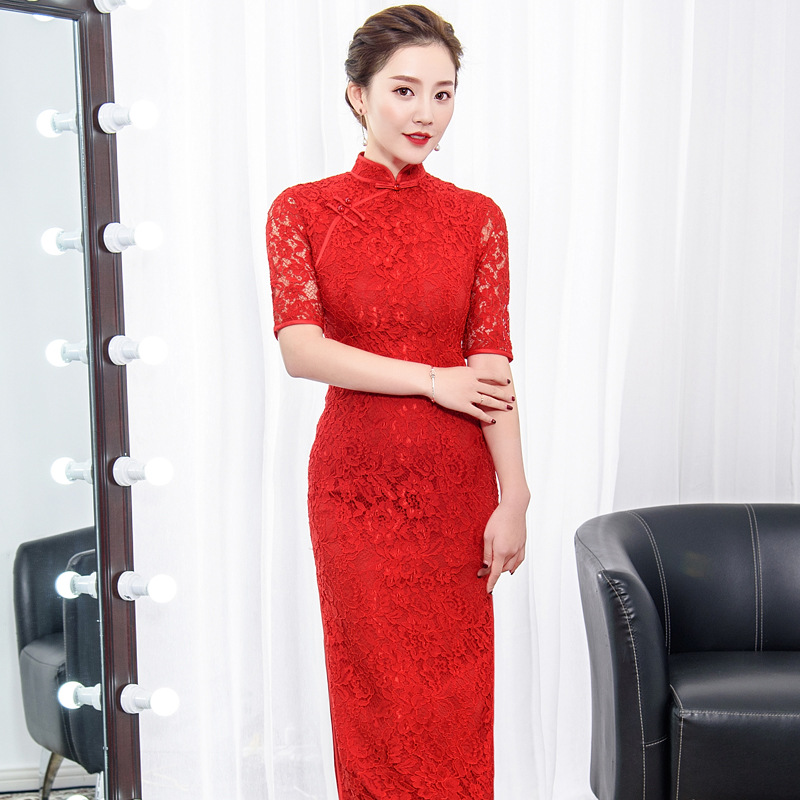 Élégant rouge dames dentelle Cheongsam 2018 été chinois style Mandarin col longue robe femmes Qipao Slim robes de soirée Vestido