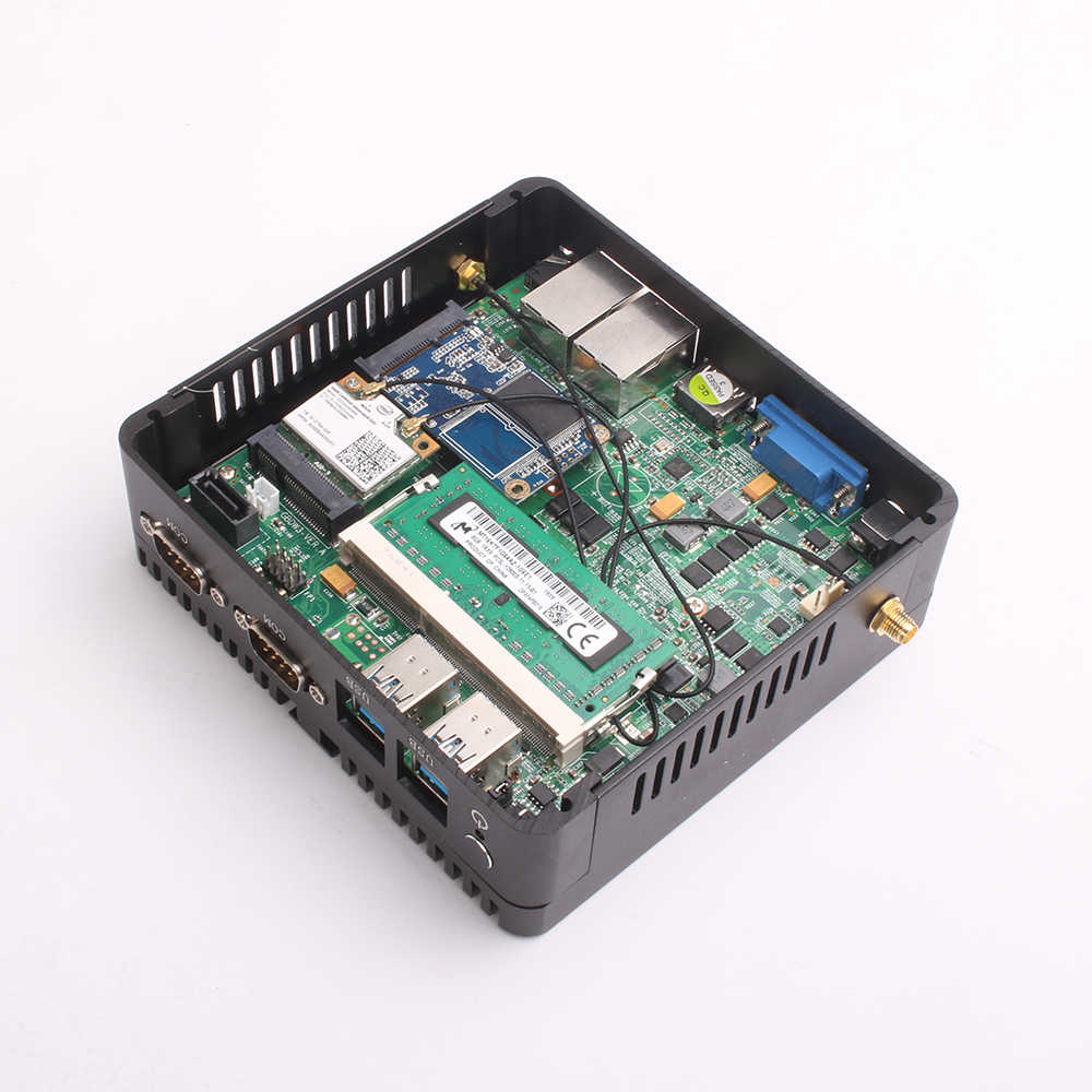 MÁY TÍNH Mini PC Quạt Không Cánh Celeron J1900 Quad Core Windows 10 Dual LAN 2 * COM Celeron J1800 N2810 Nettop 300 M WIFI HDMI VGA Máy Tính Mini