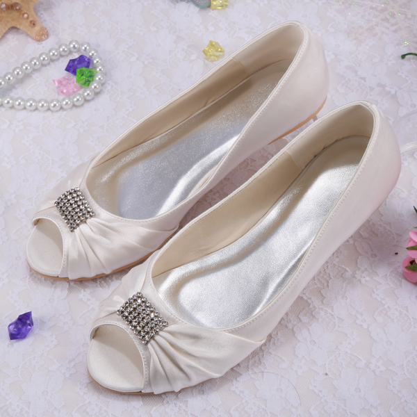 (20 Colors) Hot-Selling Wedding Shoes Beige Ballet Flat For Women Open Toe Dropship
