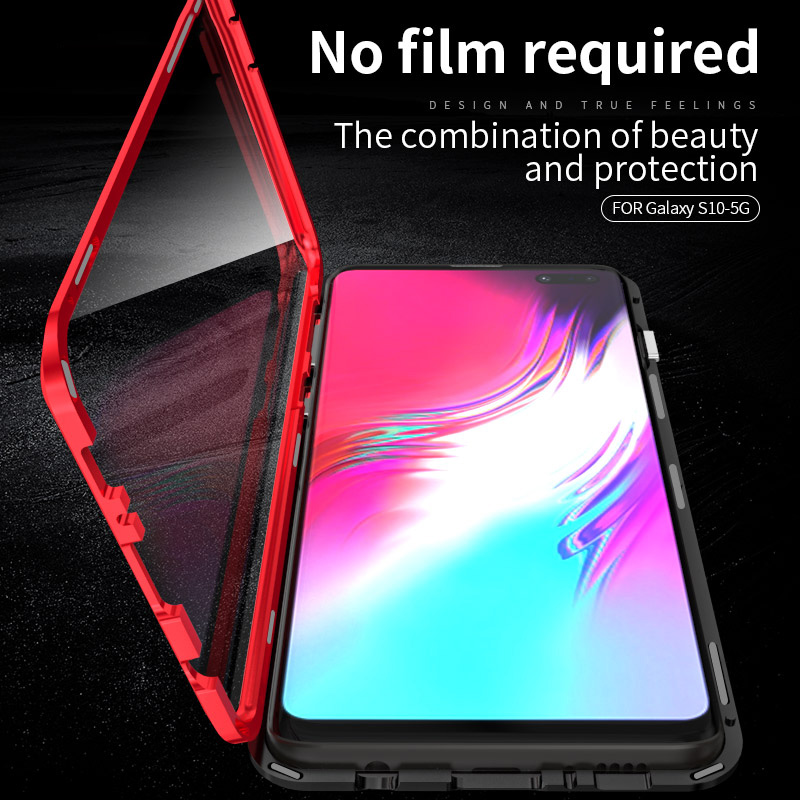 360 Volledige Ontwerp Cover Voor Samsung S10 5g Case Metalen Aluminium Luxe Gehard Glas Case Voor Samsung S10 Plus S 10 Magnetische Case