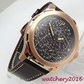 44 мм parnis черный циферблат Золотой корпус сапфировое стекло 2019 мужские часы Топ бренд класса люкс с ручным заводом 6498 механические часы