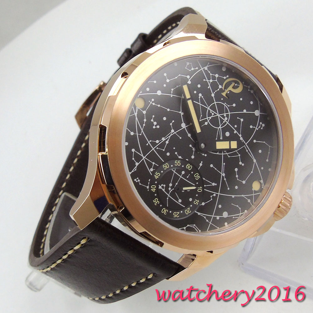 44mm parnis black dial Golden case Sapphire glass 2017 Mens watches top brand luxury hand winding 6498 movement mechanical Watch wholesale golden designer mens hand mechanical coffee strap watch