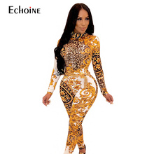 2019 New women sexy skinny jumpsuit stand neck gold floral vintage printed open back Club bodysuit long sleeve rompers outfit