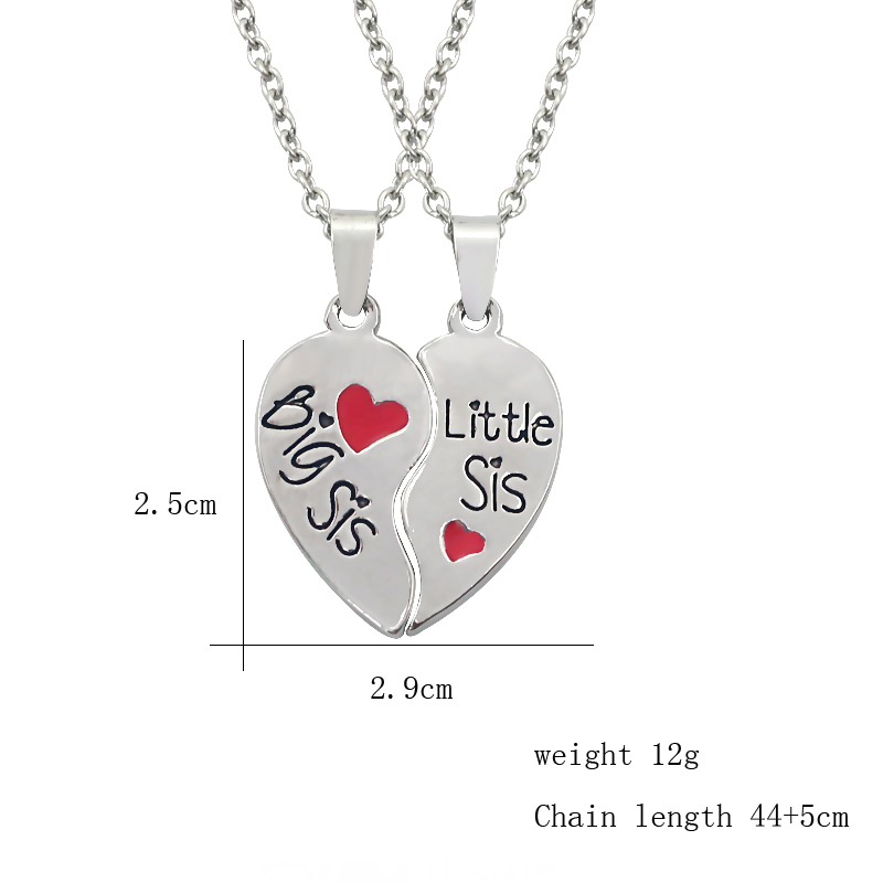 New Fashion Big Sister Little Sister Necklace 2PCS Set Broken Heart BFF Pendant Necklace Two Hearts Sis Necklace Jewelry Gift in Pendant Necklaces from Jewelry Accessories