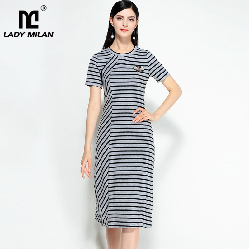 New Arrival 2018 Womens Turn Down Collar Short Sleeves Striped High Street Fashion Casual Dresses