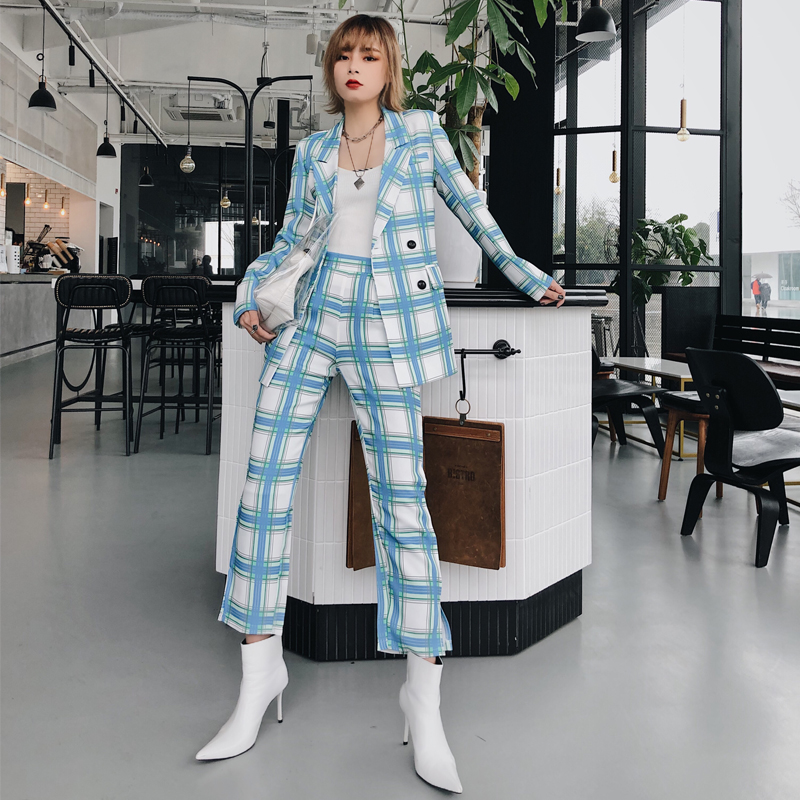 Elegant 2019 Spring Women Blazers And Jackets Suit Mid-Long Casual Autumn Plaid Blazer Double Breasted Loose Suit Coat AO884