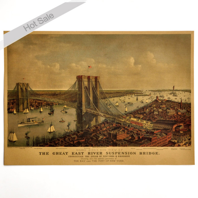 New York Brooklyn Bridge Paint Vintage Kraft Poster Retro Bar Pub Cafe Living Room Wall