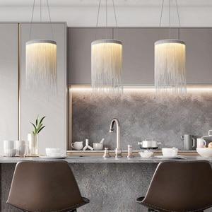 Image 4 - Современная алюминиевая Подвесная лампа, новинка, Алюминиевые цепочки 12 Вт, светодиодный подвесной светильник для столовой, гостиной, спальни, светильник (DL 60)