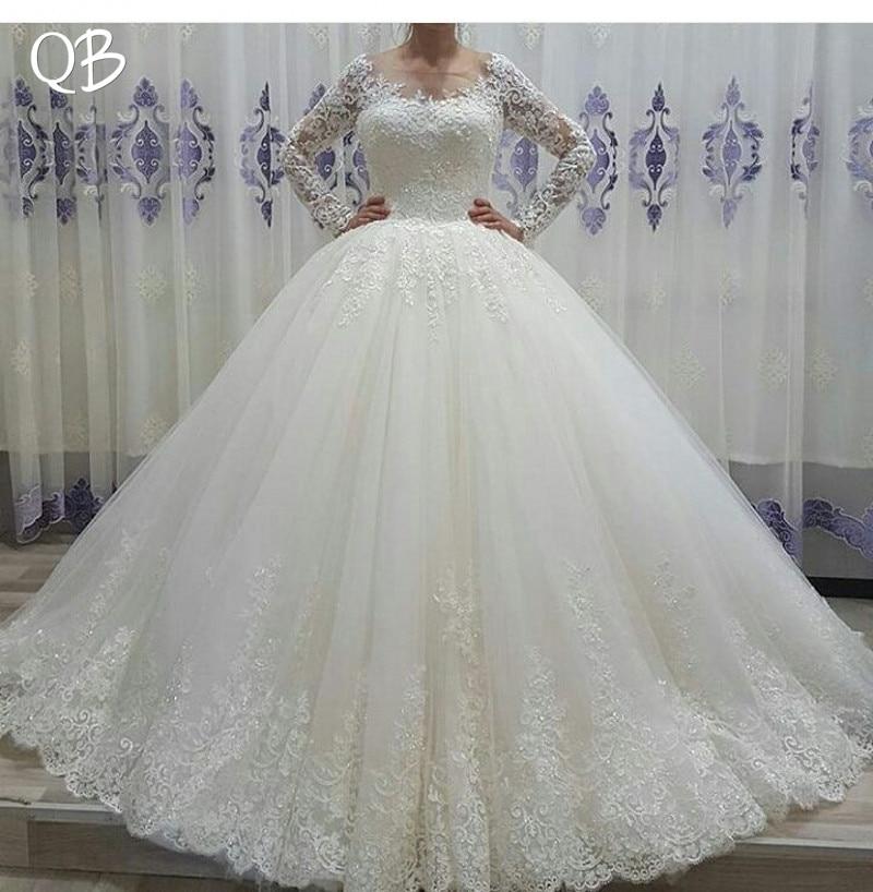 Fait sur mesure robe de Bal Bing Train à manches longues Tulle Dentelle Perles De Luxe robes de mariée formelles 2019 Robes De Mariage De Mode XL11