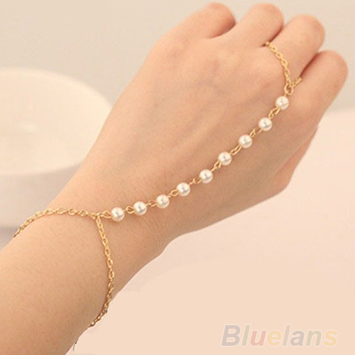 Bluelans Women's Pearl Gold Chain Bracelet Bangle with Attached Slave Chain