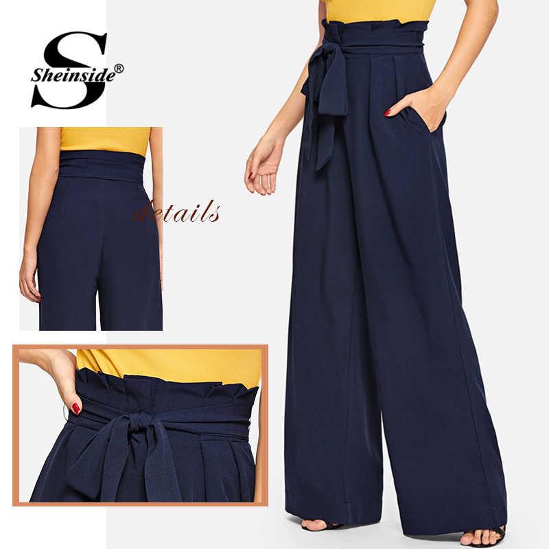 Sheinside темно Paperbag талии поясом широкие брюки для женщин 2019 весна Высокая талия плиссированные брюки-макси повседневное Твердые карман мотобрюки