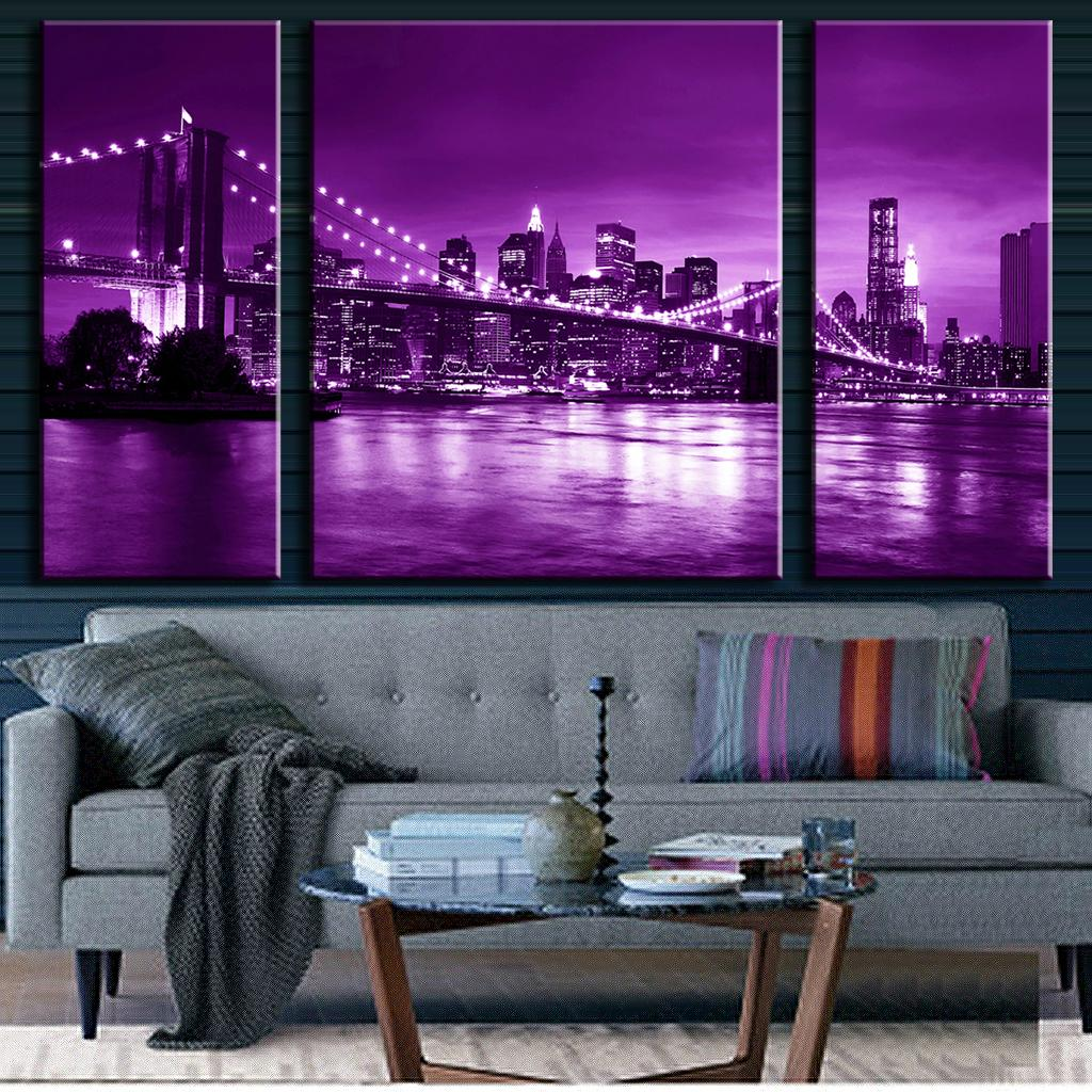 New York Bridge Purple Night Skyline Home Decor Wall Art Framed Canvas Picture