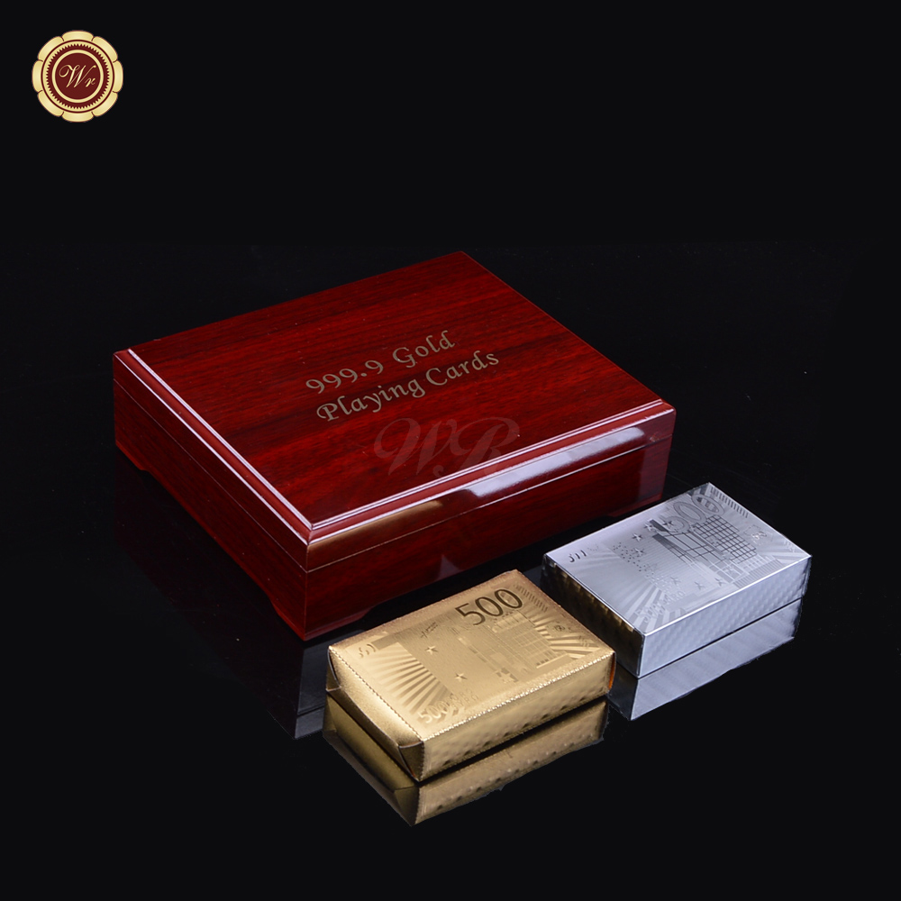 WR Corporate Gift 500 Euro Gold and Silver Chip Cards Quality Business Souvenir Gifts Casino Poker Cards In Double Wooden Box