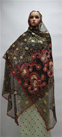 Wonderful African scarf fabric with stones French net scarf shawl nigerian lady headties 2m*1.2m ESF18, multi color
