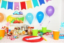 Laeacco Baby Birthday Party Balloons Flag Cake Candy Photography Background Customized Photographic Backdrop For Photo Studio