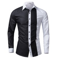 Men Shirt Long Sleeve 2016 Brand Shirts Men Casual Male Slim Fit Fashion Spell Color Chemise
