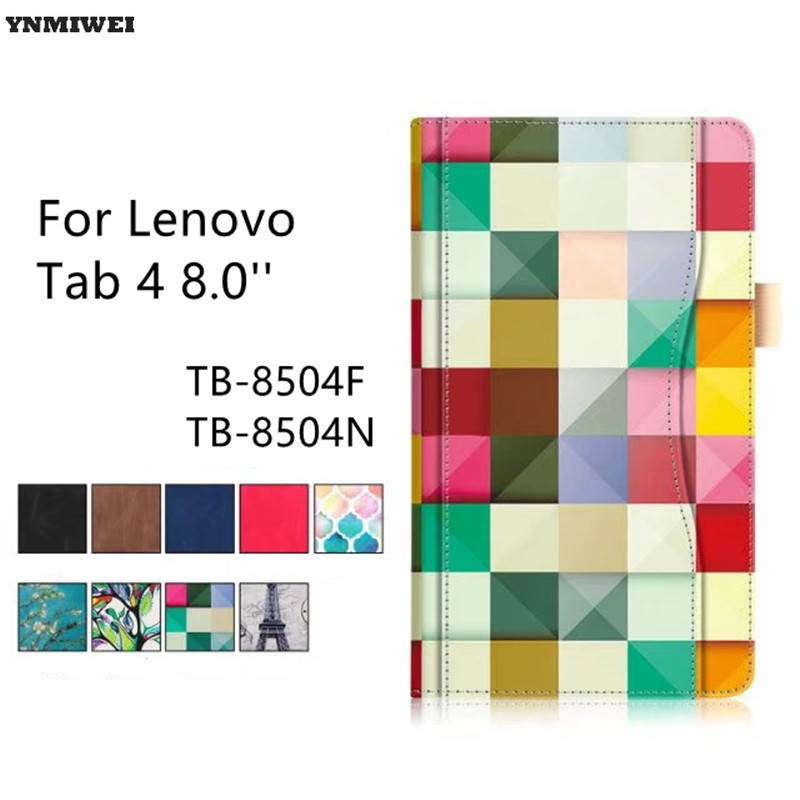 Tablet Case For Lenovo Tab4 8 Luxury Color Printing Stand Flip Cover For Lenovo Tab 4 8.0 inch TB-8504F TB-8504N Protector new print luxury magnetic folio stand fashion prints flower leather case cover for lenovo tab 3 8 plus tab3 p8 tb 8703f tb 8703n