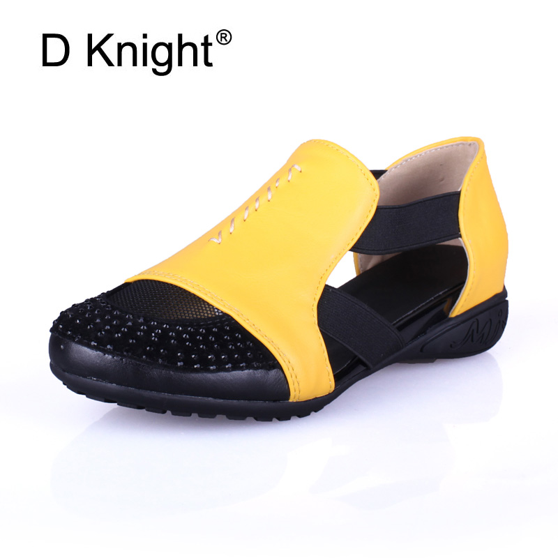 Summer Sandals Women 2018 Lady Yellow Red Shoes Woman Platform Flats Shoes Causal Rhinestone Sandals Roma Female Gladiator Shoes tinghon women gladiator sandals shoes woman summer sandals flats black pink beige size 33 43