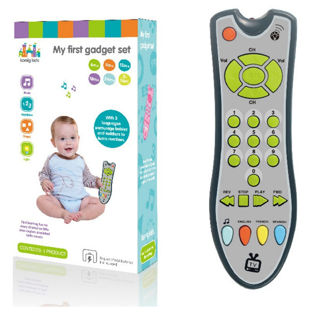 Купить с кэшбэком Baby Toys Mobile Phone TV Remote Control Early Educational Toys 3 languages Electric Numbers Remote Learning Machine Gifts
