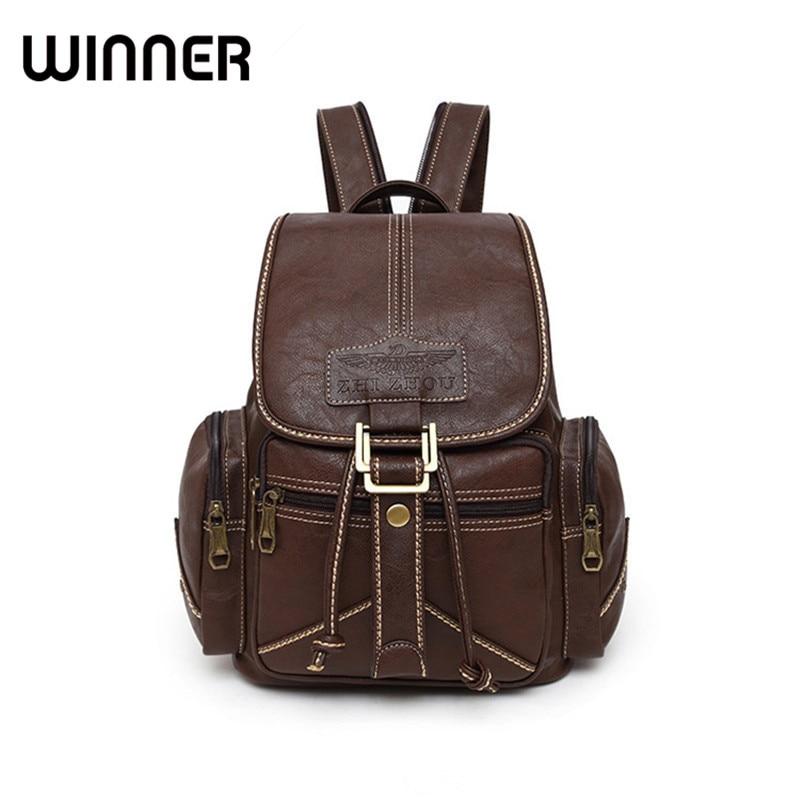 Winner Brand Women Backpack Vintage PU Soft Leather School Backpacks Student Schoolbag Satchel Female Retro Backbag