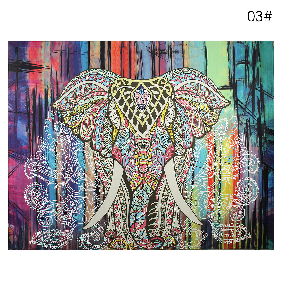 Elephant Mandala Tapestry Throw Towel Hippie Tapestry Floral Printed Home Decor Wall Tapestries Bedspread 210*150CM 11