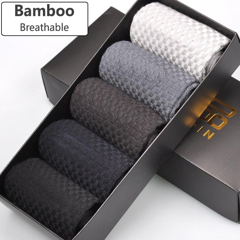 Brandgaranti Mænd Bambusokker Deodorant Åndbar Komfortabel antibakteriel afslappet forretningsmandssokker (5 par / parti)
