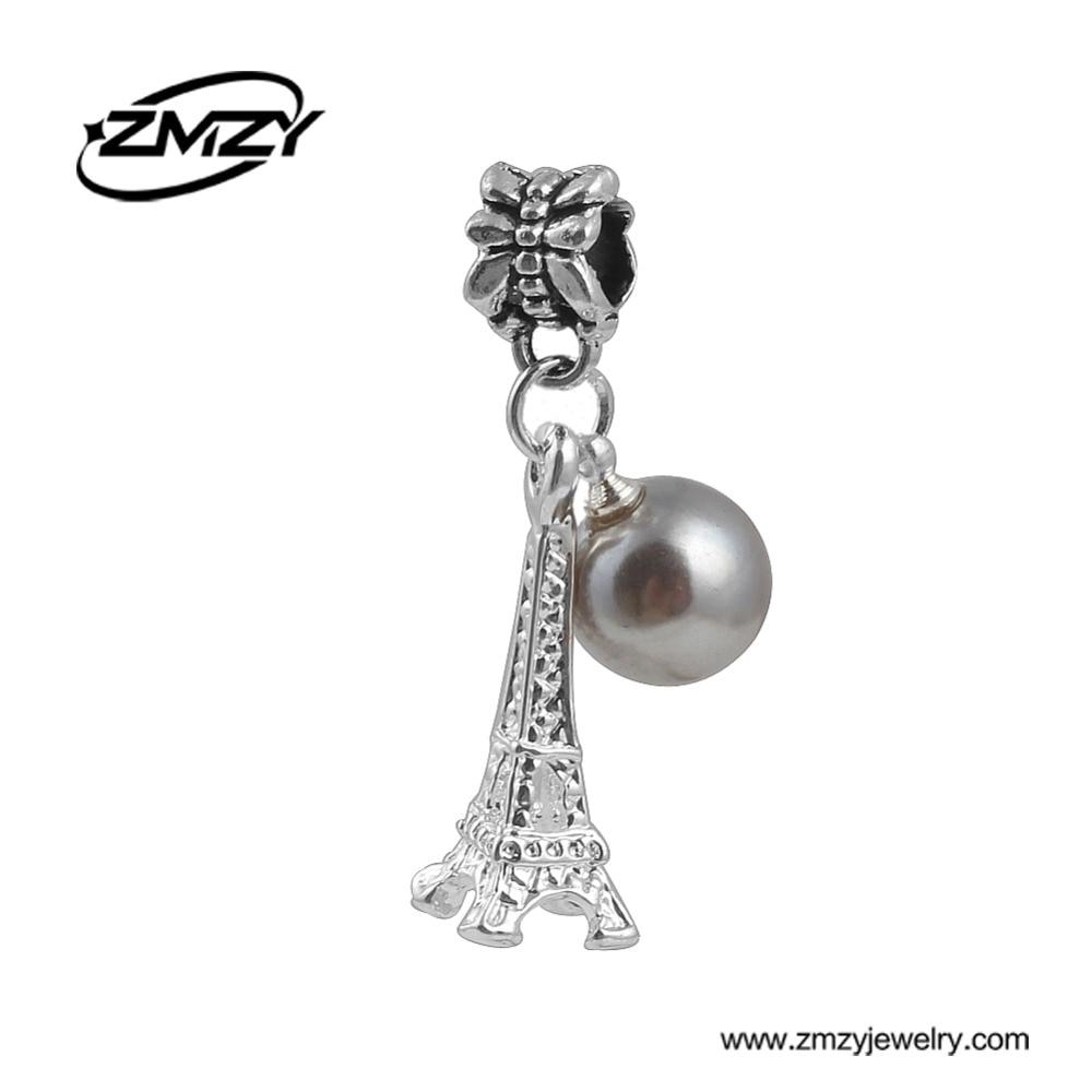 Fashion Silver Plated Bead Pendants Eiffel Tower Pendant European Charm DIY Jewelry fits Pandora Charm Bracelet for Women