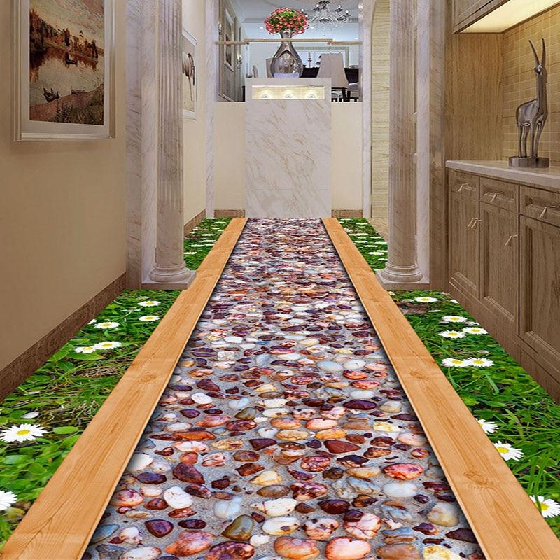 Custom 3d Floor Wallpaper Flowers Road Bathroom Kitchen: Custom 3D Floor Wallpaper For Walls Roll Grass Wild Flower