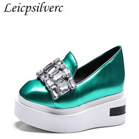 Spring loafer thick bottom spring muffin bottom slope diamond female shoes