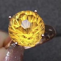 Натуральный 10*10 мм фейерверк кольцо цитрин натуральный желтый кристалл кольцо S925 серебро Модный Элегантный Круглый Довольно женские парти...