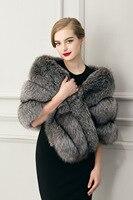 2017 Winter Wholesale Fur Pashmina High Quality Faux Fur Grey Women Wraps Fashionable Free Size Moden